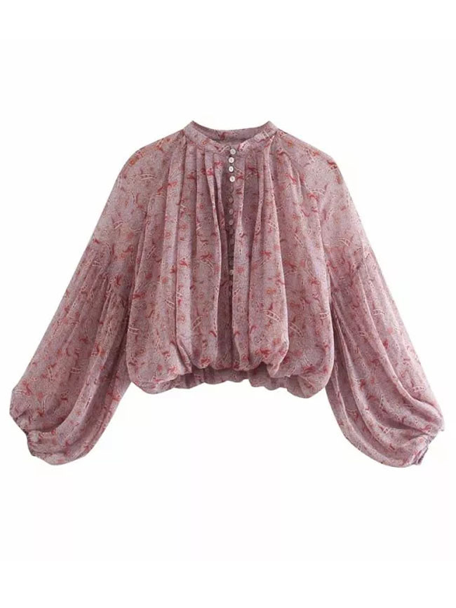 Chiffon Pink Printed O-neck Balloon Sleeve Casual Tulle Blouse
