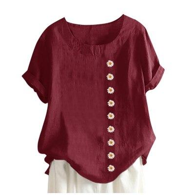 Women O-neck Short Sleeve Floral Print Cotton Linen Vintage Women Harajuku T Shirt