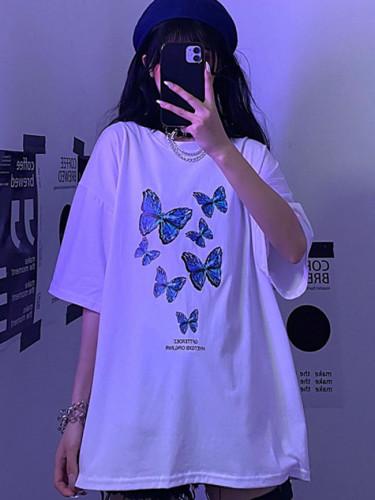 New Summer Women T-Shirt Loose Top Vintage Short Sleeve Butterfly Cartoon Print
