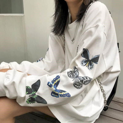 Autumn new butterfly print Korean student loose top