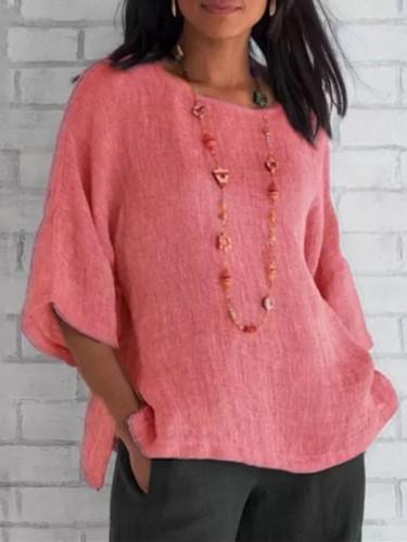 Summer Women Cotton Linen Blouse Casual Loose Solid Colors Shirt