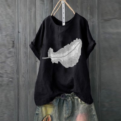 Women Casual Print Short Sleeve O-neck Loose T-shirt Tops
