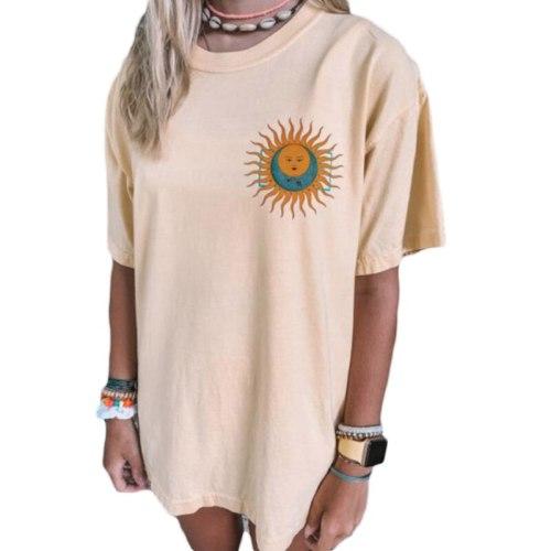 Harajuku Summer Short Sleeve Sun Moon Printed T-Shirt Retro 90s Tops