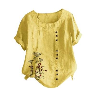 Women O-neck Short Sleeve Buttons Cotton Linen Vintage  Women T Shirt