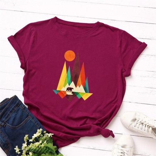 Summer Plus Size Tshirt Printed Shirt 100% Cotton  O Neck Short Sleeve Tees