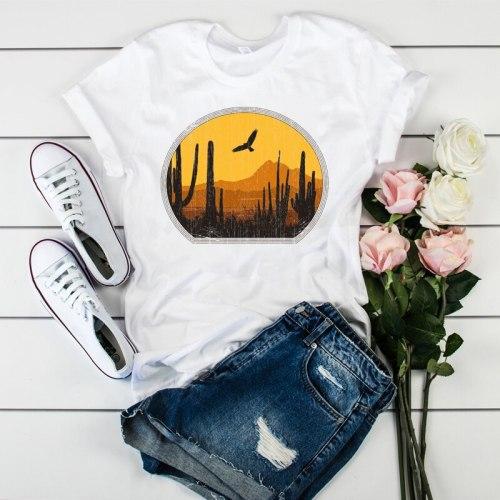 Vintage Short Sleeve Printed Womens T-shirt