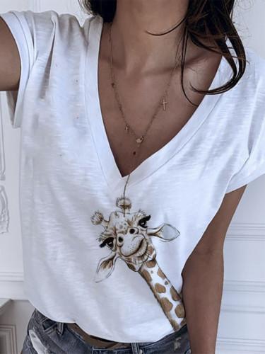 Casual V Neck White Color Giraffe Print Short Sleeves Cotton T-shirt