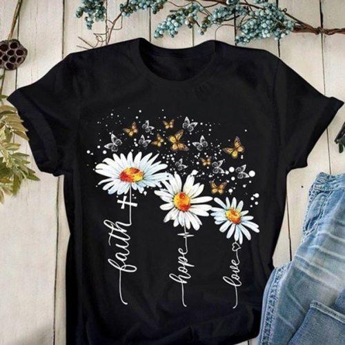 Butterfly Flower Print T Shirt Women FashionGraphic T-shirt