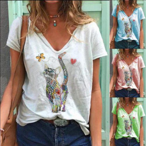 Casual White Color Cat Print V Neck T-shirt Print Cotton Tops
