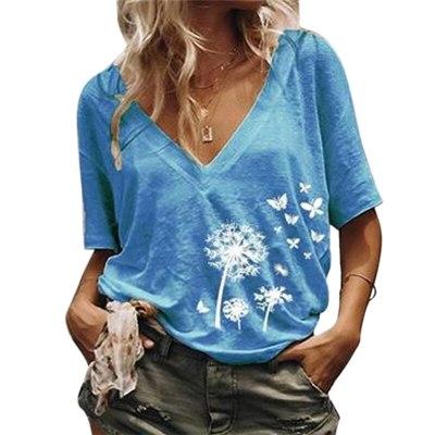Women's shirt Loose Casual Printed V neck T shirt