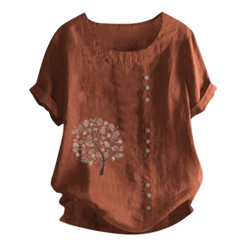 Women Retro Cotton And Linen Embroidered Loose Casual Tops