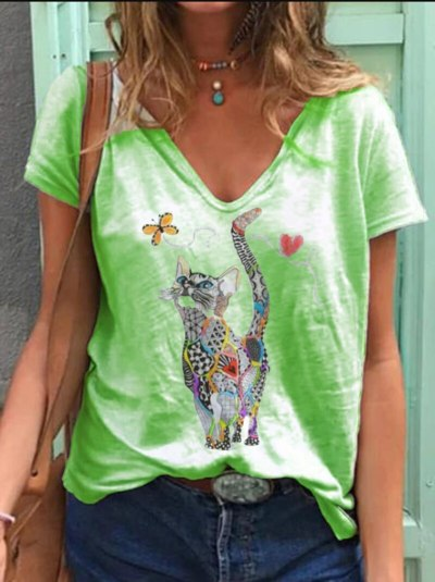 Casual White Color Cat Print V Neck T-shirt Print Cotton Tops