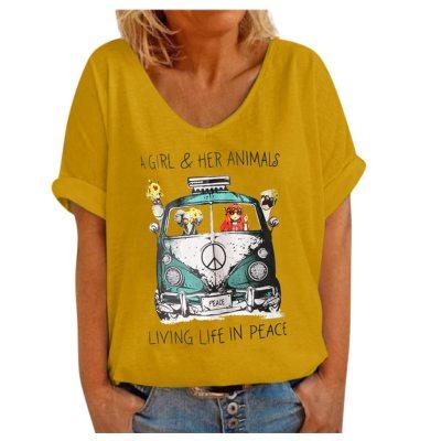 Women Casual Round Neck Short Sleeve Print Tops T-shirt