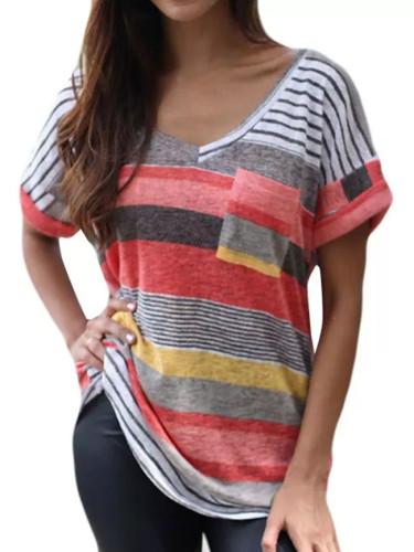 Fashion V-neck Stripe Print Short Sleeve Tops Pocket T-Shirt