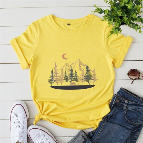 Printed T Shirt 100%Cotton T-Shirt O Neck Short Sleeve Tops