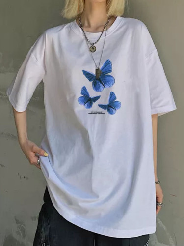 Summer100% cotton casual letter butterfly print tops