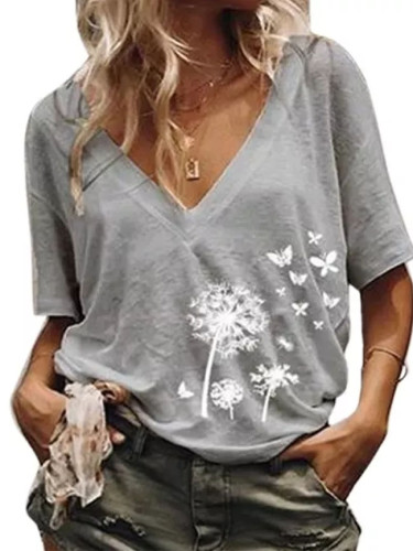 Women's shirt Loose Casual Printed V neck T shirt