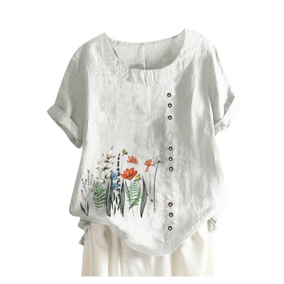 Women Vintage Flowers Print O-neck Casual Buttons Tops