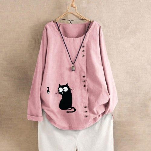 Women Long Sleeve Cotton Linen Ladies Baggy Cat Print T-shirt Tops