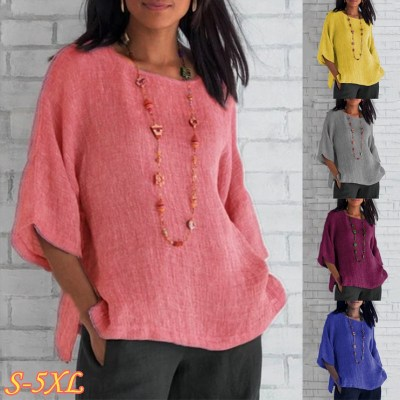 Summer Women Cotton Linen Blouse Casual Loose Solid Colors Shirt