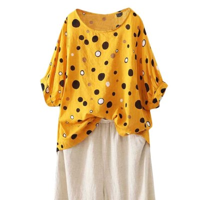 Women Casual Loose Linen Dot Print Boho Daily Tanic T-shirt Tops