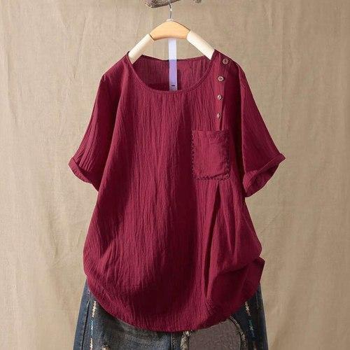 Women Solid Button Short Sleeve Pocket  Women Harajuku T Shirt