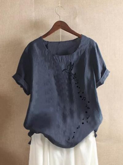 Women O-neck Short Sleeve Floral Print Buttons Cotton Linen Vintage Tops