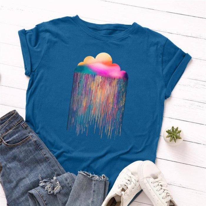 Clouds Print T-Shirt Women 100%Cotton Women Shirts O Neck Short Sleeve