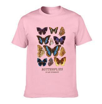 Cotton T Shirt Sun Flower Butterfly Women's T-shirt