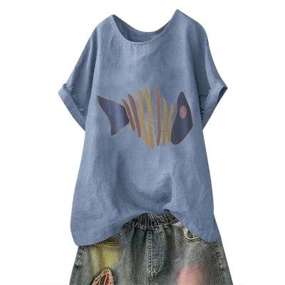 Women Casual Plus Size Short Sleeve Cotton Linen O-neck Print Tops T-shirt
