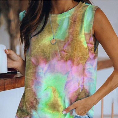 Summer Tie Dye Sleeveless O-Neck Loose Casual t-shirts Tops