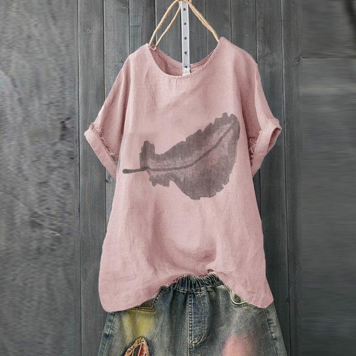 Women Casual Print Short Sleeve O-neck Loose T-shirt Tops