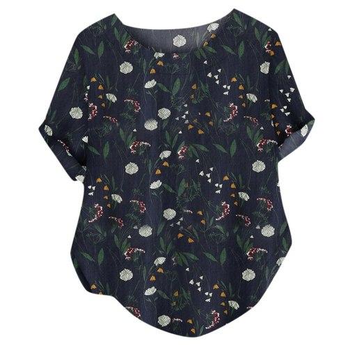 Women Casual O-neck Printed Loose Button T-shirt
