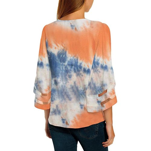 Women V Neck T-shirts Casual Mesh Panel Blouse 3/4 Bell Sleeve Loose Top