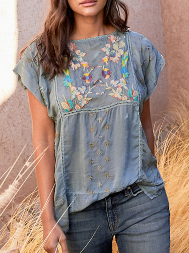 Solid Color Short Sleeve V Neck Embroidery Pullover Loose T-shirt