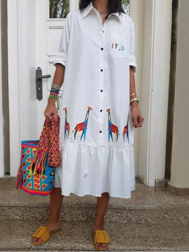 Fashion White Shirt Dress Women Summer Dress