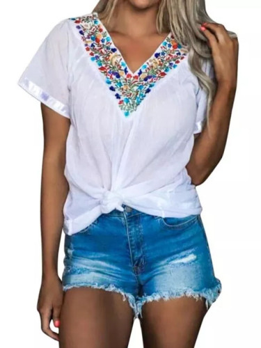 Summer New Chic Floral Prints V-neck Casual Short-sleeved T Shirt