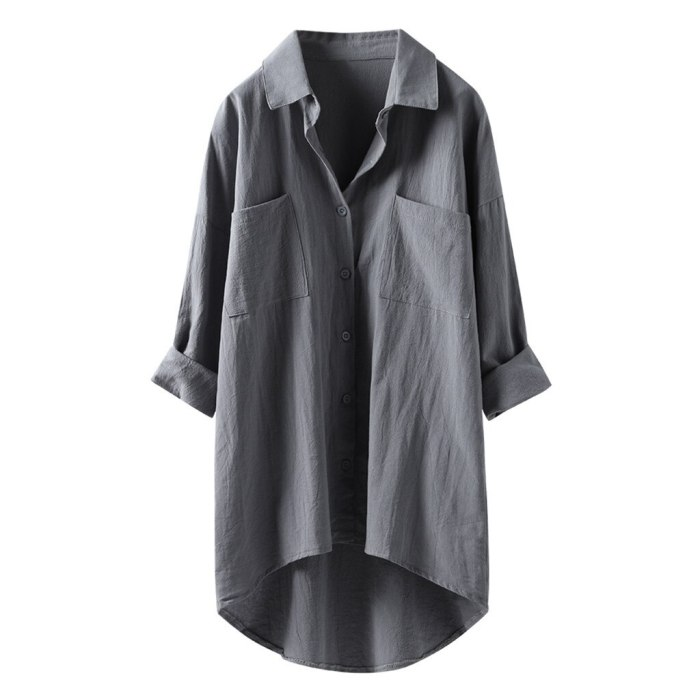 Cotton And Linen Blouses Women Casual Tops Long Sleeve Button Down Shirts