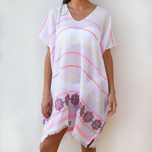 Summer Women Beach Short Sleeve V Neck Sexy Holiday Print Dress