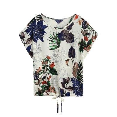 Women Leaves Print Short Sleeve Tops Breathable T Shirt