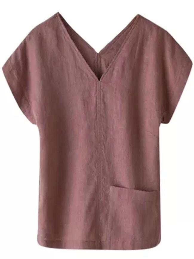 Women Cotton And Linen Solid Color Pocket V-Neck Short-Sleeved Top T Shirt