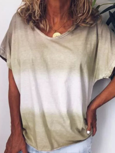 Women Casual Fashion Rainbow Gradient Printed  Round Neck Loose Short Sleeve