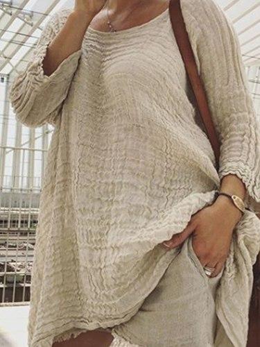 Ladies Casual Style Round Neck Linen Soild Loose Shirt
