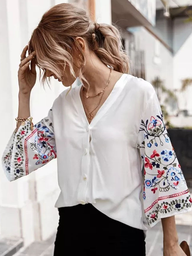 Fashion Flare Sleeve Casual Cotton Embroidery Solid Short Sleeve V-neck Shirt Tops