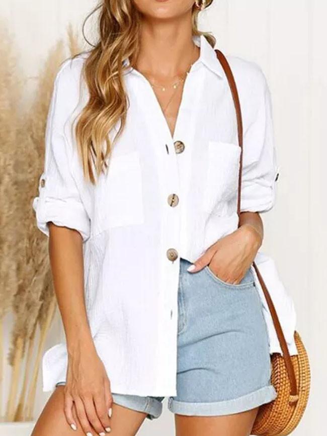 Solid Shirts Long Sleeve Cotton Linen Blouse Oversize White Blouse
