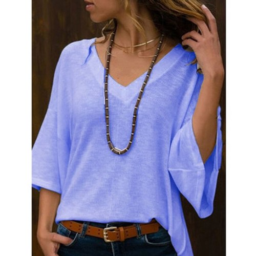 Fashion Loose T-Shirt Three Quarter Sleeved V-Neck Short-Sleeved Casual T-Shirt