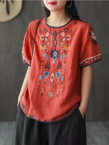 Summer T-Shirt Women Loose Linen Cheongsam Top Embroidery