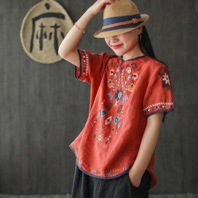 Summer T-Shirt Women Loose Linen Cheongsam Top Embroidery
