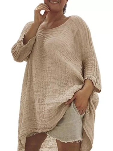 Ladies Casual Style Round Neck Linen Soild Loose Shirt