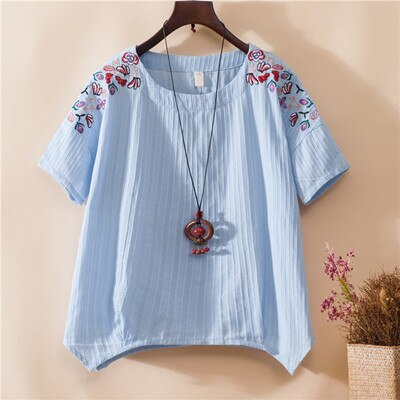 Ethnic short sleeve 4 colors embroidery t-shirt